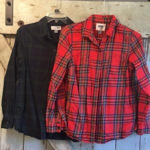 2 plaid flannels
